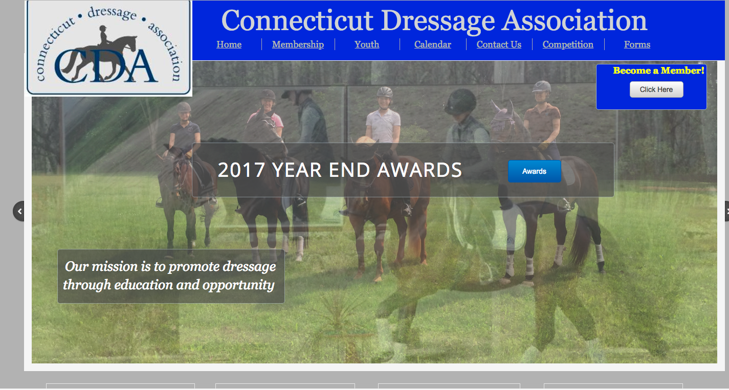 Connecticut Dressage Association Website maintained by Clients Website Company