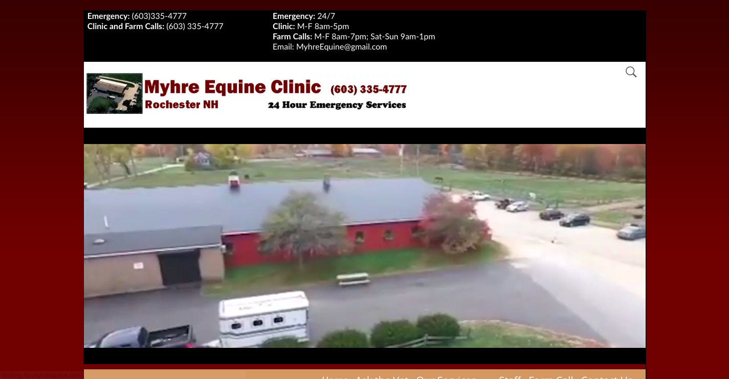 Myhre Equine Clinic rebuilt by Clients Website Company