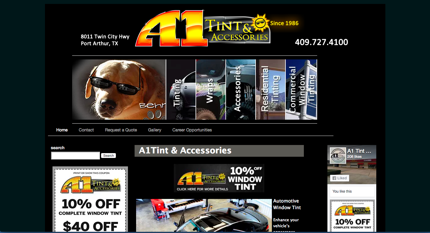 A1 Tint Website built and maintained by Clients Website Company