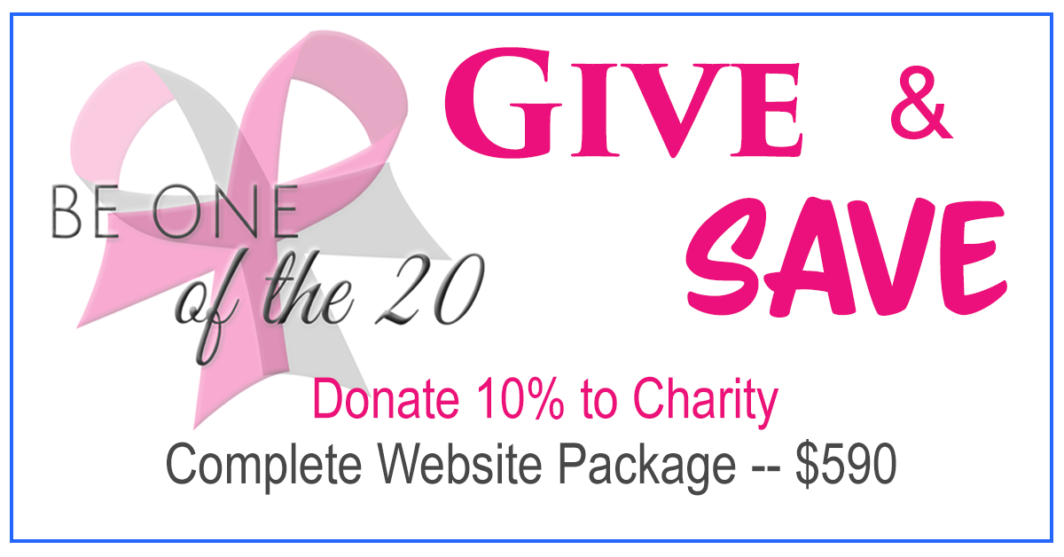 Get a complete website package for $590 and I will donate 15% to a charity of your choice
